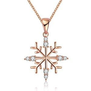 Jewelry - Snowflake ❄️ Rose Gold Silver Pendant Necklace